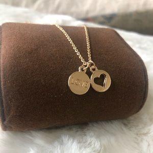 Love Charm & Heart Cutout Necklace